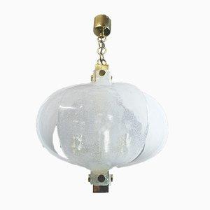 Lampada in ottone con petali in vetro di Murano smerigliato di Kaiser Idell / Kaiser Leuchten, Germania, anni '60