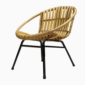 Italian Rattan and Bamboo Armchair, 1950s
