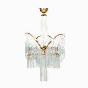 Art Déco Deckenlampe aus Messing & Glas, 1930er