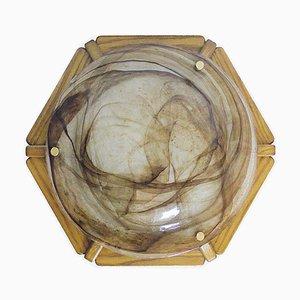 Deutsche Deckenlampe aus Muranoglas & Holz von Kaiser Idell / Kaiser Leuchten, 1960er