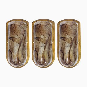 Wandlampen aus Muranoglas & Holz von Kaiser Idell / Kaiser Leuchten, 1960er, 3er Set
