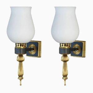 Französische Wandlampen, 1960er, 2er Set