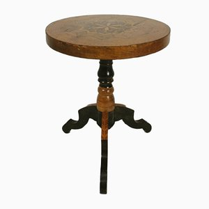 Antique Inlaid Tripod Side Table