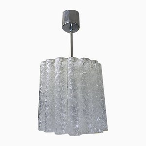German Murano Glass and Chrome Pendant Lamp from Doria Leuchten, 1960s