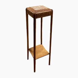Art Deco Beech and Marble Side Table, 1930s