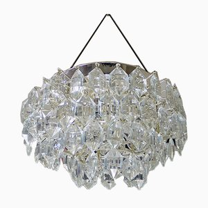 Austrian Crystal and Silver Plated Nickel Ceiling Lamp from Bakalowits & Söhne, 1950s