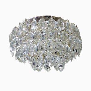 Österreichische Deckenlampe aus Kristallglas & versilbertem Nickel von Bakalowits & Söhne, 1950er