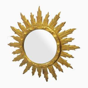 Mid-Century Wooden Sunburst Mirror