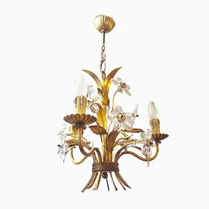 Italian Crystal and Gilt Brass Bouquet Chandelier, 1950s