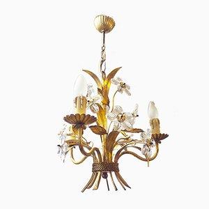 Italienischer Bouquet Kronleuchter aus Kristallglas & vergoldetem Messing, 1950er