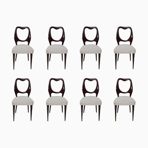 Italienische Mid-Century Esszimmerstühle aus Mahagoni von Vittorio Dassi, 1950er, 8er Set
