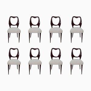 Mid-Century Italian Mahogany Dining Chairs by Vittorio Dassi, 1950s, Set of 8