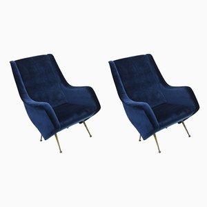 Mid-Century Italian Lounge Chairs by Aldo Morbelli for ISA Bergamo, 1950s, Set of 2