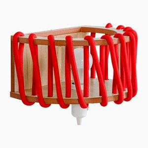 Large Red Macaron Wall Lamp by Silvia Ceñal for Emko