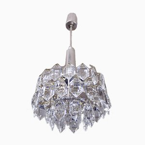Austrian Crystal and Silver-Plated Nickel Chandelier from Bakalowits & Söhne, 1950s