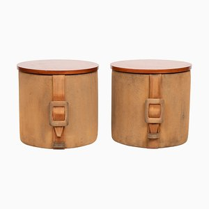 Italian Suede Ottomans, 1950s, Set of 2