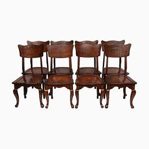Esszimmerstühle mit Intarsien aus Messing, 1950er, 8er Set