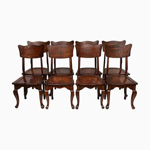 Inlaid Brass Dining Chairs, 1950s, Set of 8