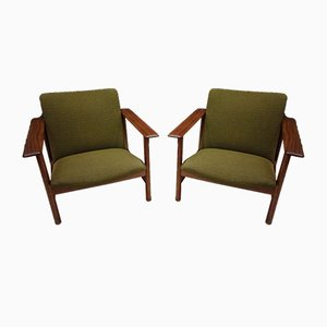 Grüne Vintage Esszimmerstühle von Steiner, 2er Set