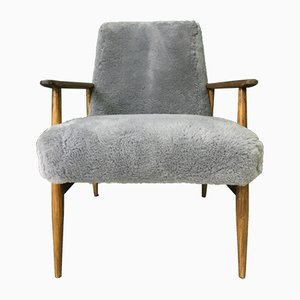 Mid-Century Gray Sheepskin Armchair