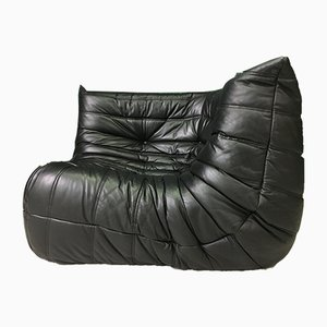 Black Leather Corner Togo Sofa by Michel Ducaroy for Ligne Roset, 1980s