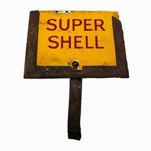 Emailliertes Tankstellen-Werbeschild von Super Shell, 1950er