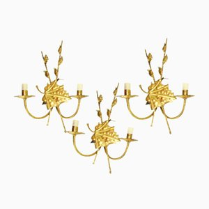 Mid-Century Gilded Iron Sconces, 1950s, Set of 3