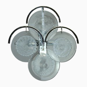 Aplique de latón chapado en cromo y cristal de Murano de Vistosi, años 60