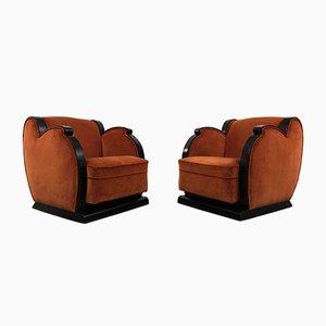 Vintage Art Deco Armchairs, Set of 2