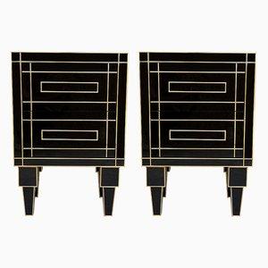Tables de Chevet Artisanales en Cristal Noir et Laiton avec 2 Tiroirs par Zenza, Set de 2