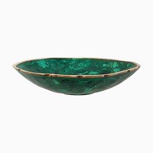 Malachite and Brass Round Bowl, 1960s