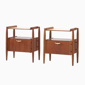 Italian Teak and Brass Nightstands, 1950s, Set of 2