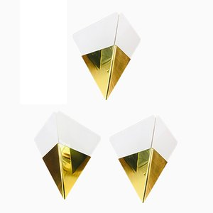 Austrian Triangle Ice Glass Sconces by J.T. Kalmar, 1960s, Set of 3