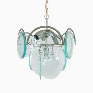 Mid-Century 3-Tier Chrome and Glass Chandelier by Gino Vistosi , 1960s