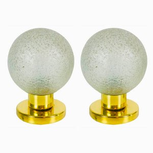 Ice Glass and Brass Table Lamps by Doria Leuchten, 1970s, Set of 2