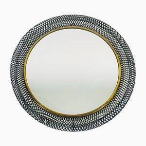 Mid-Century Italian Round Black Metal and Brass Mirror, 1960s