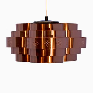 Danish Copper Ceiling Lamp by Werner Schou for Coronell Elektro, 1960s