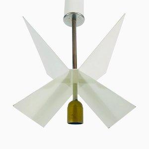 Italian Space Age White Metal Chandelier, 1960s