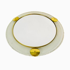 Mid-Century Italian Round Metal and Brass Mirror, 1960s