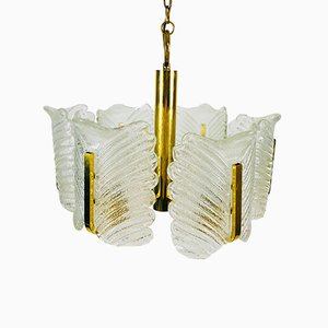 Large Mid-Century 6-Arm Brass and Ice Glass Chandelier from JSB Leuchten, 1960s