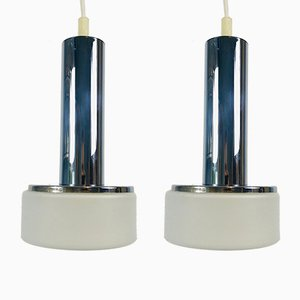 German Chrome and Opaline Glass Ceiling Lamps by Staff Leuchten, 1970s, Set of 2