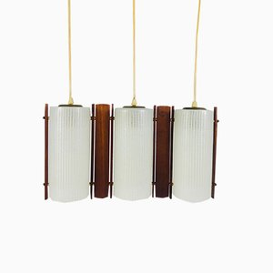 Teak and Opaline Glass Pendant Lamp, 1960s