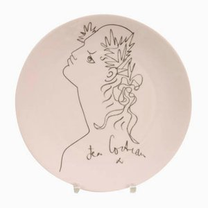Mid-Century Porcelain Plate by Jean Cocteau for Raynaud Limoges