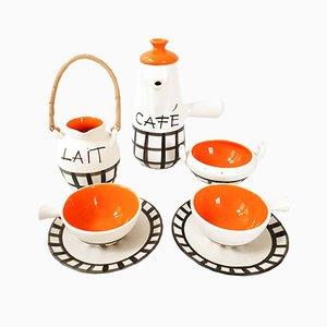 Französisches Mid-Century Kaffeeservice aus Keramik von Lili, 1950er