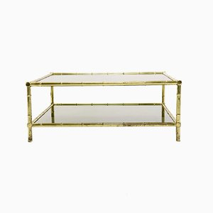 Italian Brass, Faux Bamboo, and Glass Coffee Table, 1970s