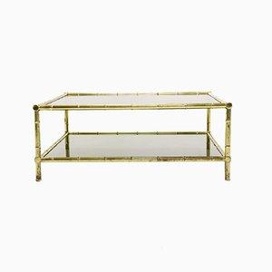 Mesa de centro italiana de latón, bambú de imitación y vidrio, años 70