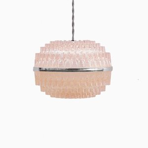 French Pink Pendant Lamp, 1950s