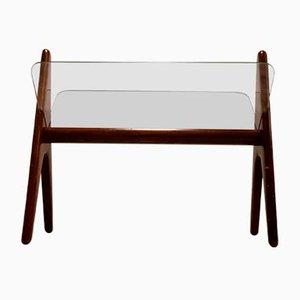 Revistero italiano de vidrio y madera, años 60