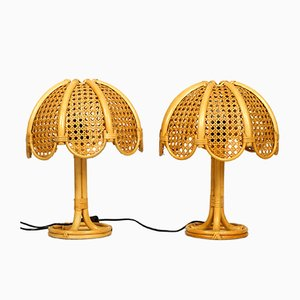 Italian Bamboo Table Lamps, 1960s, Set of 2