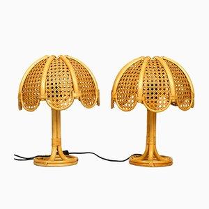 Italienische Tischlampen aus Bambus, 1960er, 2er Set